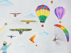 Andrei Zapanta, Grade 10, paints a light watercolor depiction of the thrills of air games.