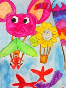 Charito Cruz, Grade 1, creates a whimsical artwork with floating pink elephants and summer sunflower.