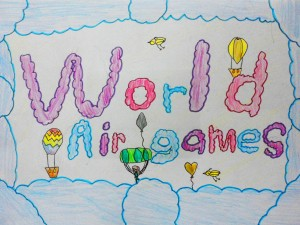Grade 1 student entry showing the how watching air games makes one feel close to the sky.