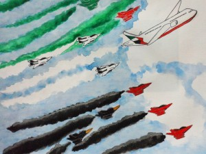Joshua Nibre, Grade 9, directs your eyes to an airplane headed to the FAI Dubai Air Games this 2015.